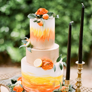 Orange painted wedding cake