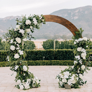 Greenery circle ceremony arch