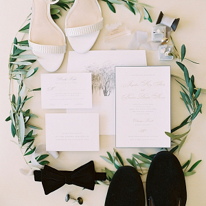 Elegant white and gold wedding invitation suite