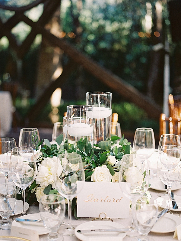 Classic white wedding reception table with floating candles