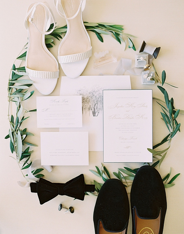 Elegant white and gold wedding invitation suite