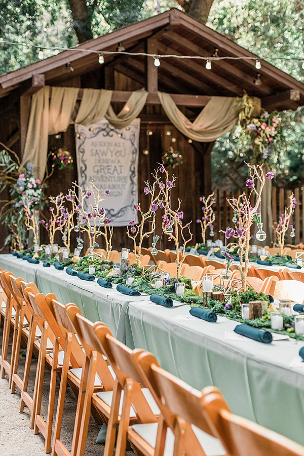 Whimsical wedding reception with trees