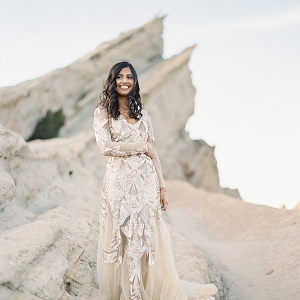 Modern gold wedding dress