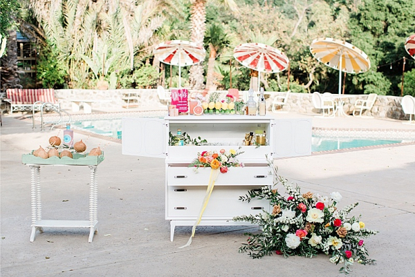 Poolside wedding drinks bar
