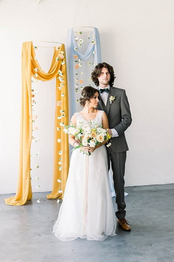 Draping and hanging flower backdrop