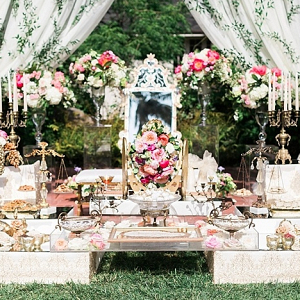Pink and gold wedding sofreh