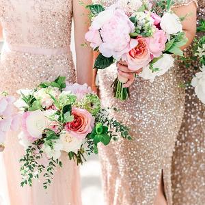 Blush sequin bridesmaid dresses