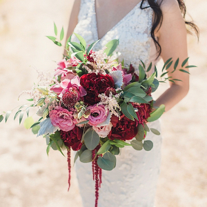 Pink and burgundy bridal bouquet
