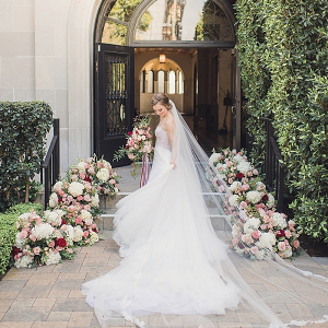 Elegant bride with cathedral veil