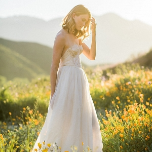 Bride in a field of flowers