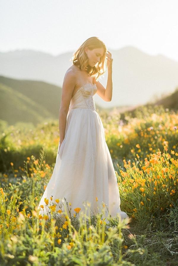 Bride in a field of flowers