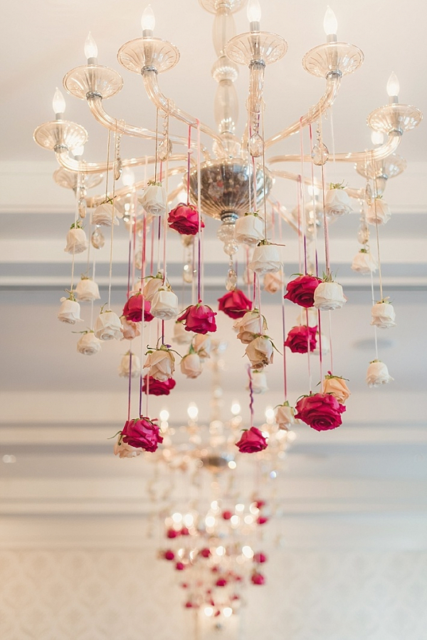 Hanging flower chandelier