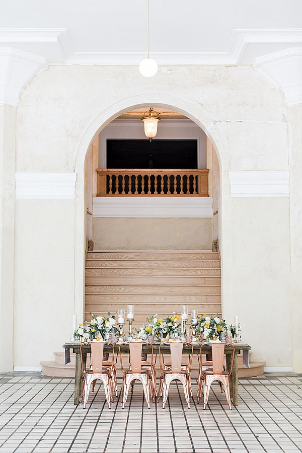 Modern yellow and copper wedding table