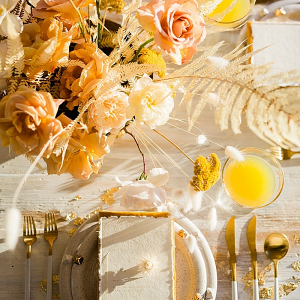 Gold and yellow wedding tablescape