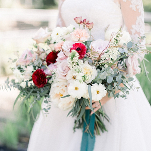 Romantic lush pink and red bridal bouquet