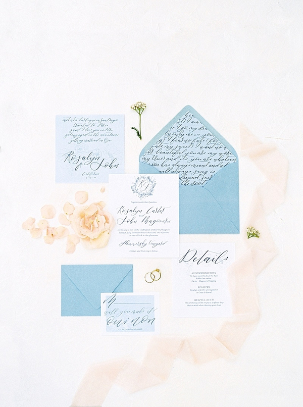 Light blue and peach wedding invitations