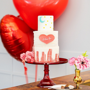 Modern heart wedding cake