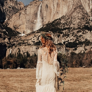 Bride in Lace Wedding Dress in Yosemite National Park