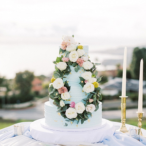 Wedding cake with floral wreath