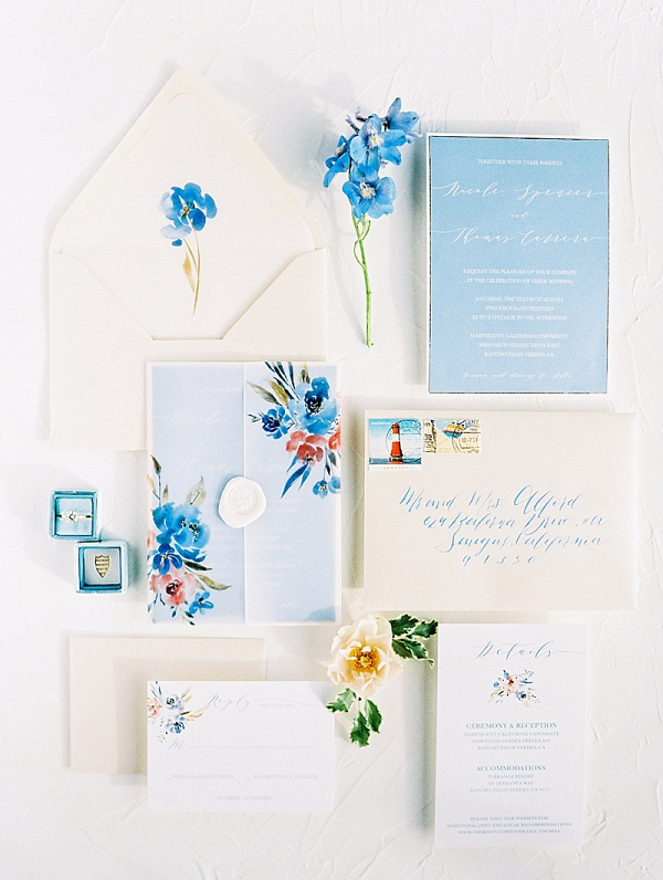 Blue floral wedding invitation suite