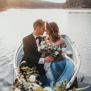 Wedding row boat portrait