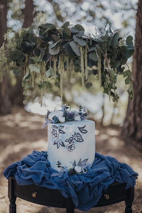 Floral print wedding cake