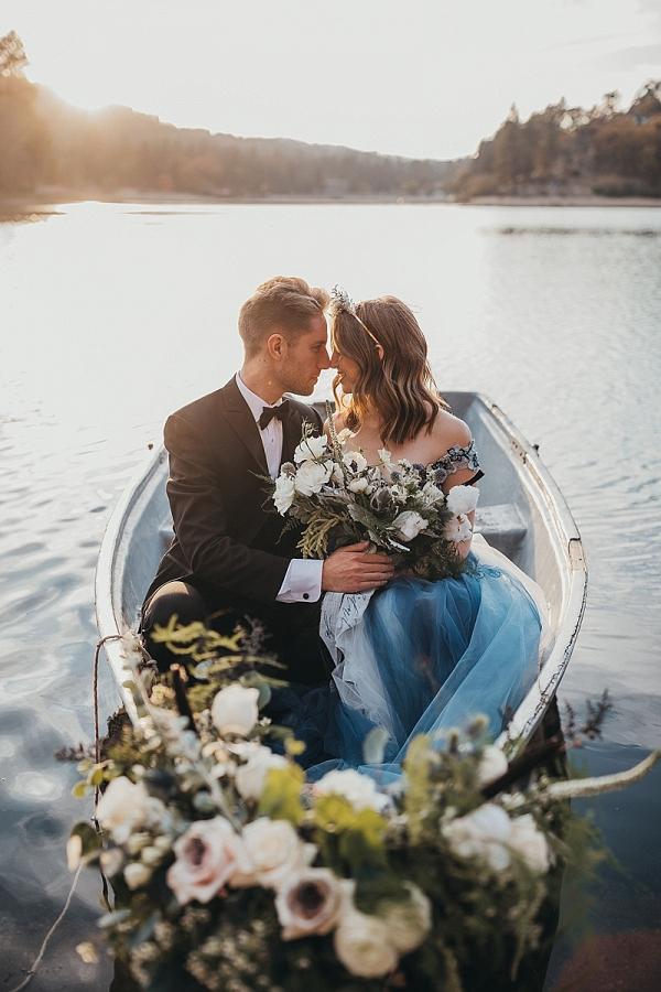 Wedding row boat portrait