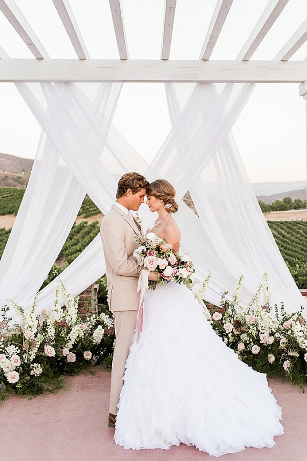 Dramatic draping ceremony backdrop