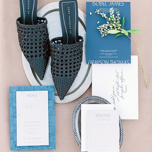 Modern blue and white wedding invitation suite