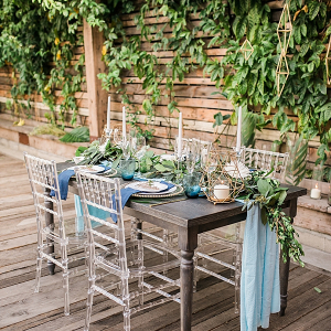 Blue and green tablescape