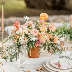 Orange and peach floral centerpiece
