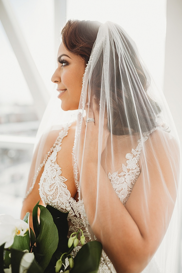 Bride with beaded veil