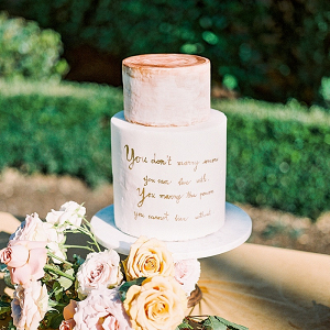 Calligraphy quote wedding cake