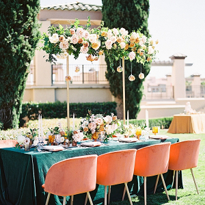 Luxe teal and coral wedding table