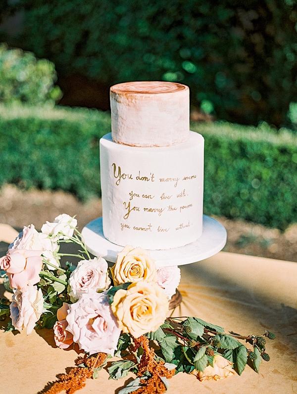 Calligraphy quote wedding cake