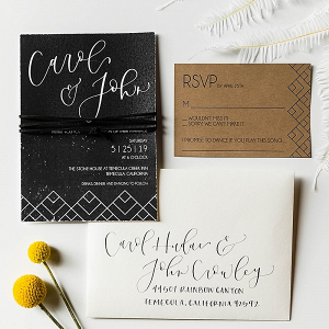 Modern boho black and craft paper invitations
