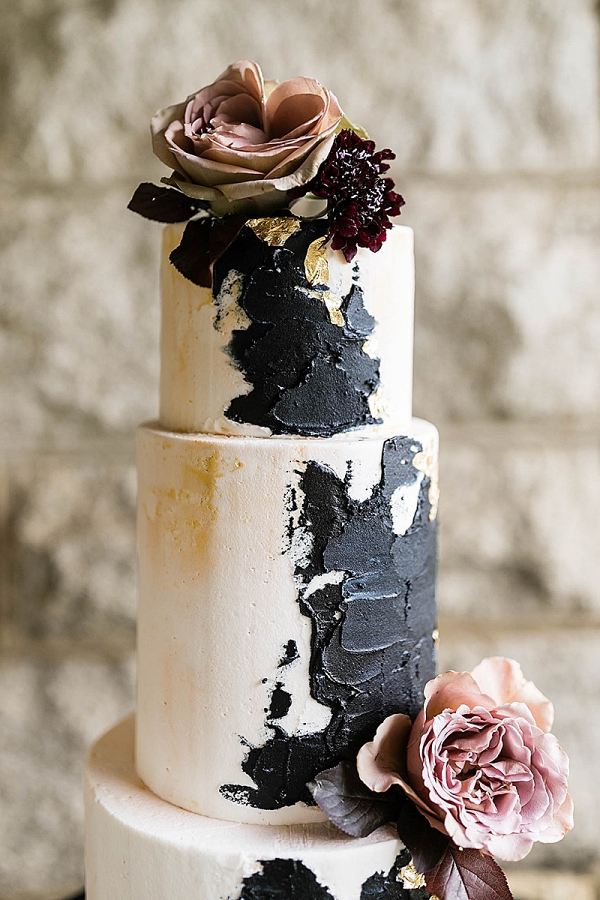 Modern palette painted wedding cake