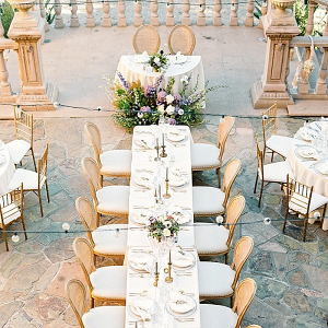 Outdoor villa patio wedding reception