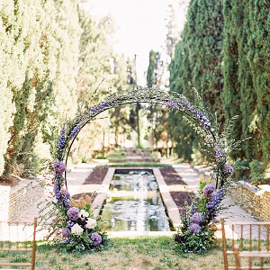Purple floral circle ceremony arch