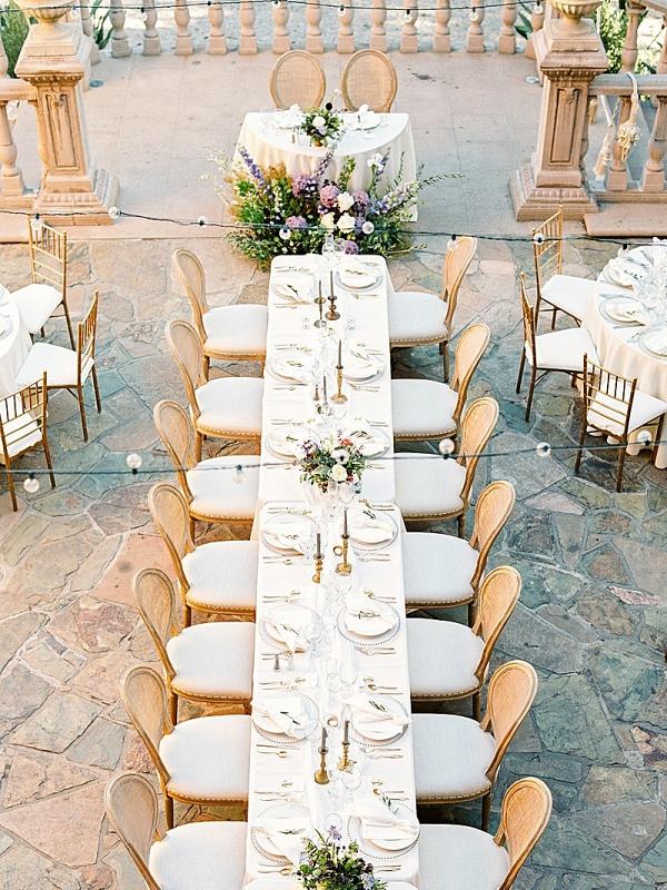 Outdoor villa patio wedding reception