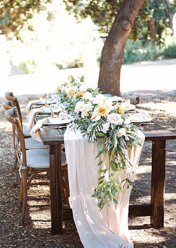 Golden and cream farm table reception