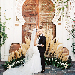 Pampas grass ceremony backdrop