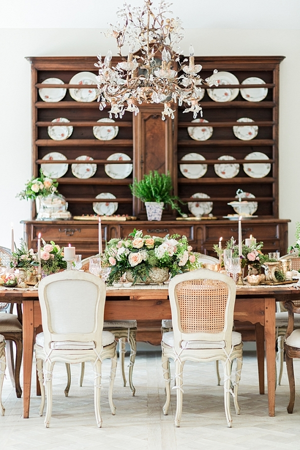 Peach and White Easter Tablescape