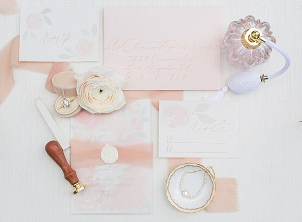 Peach wedding invitation
