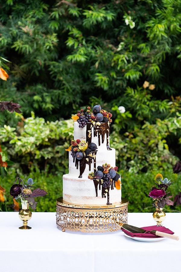 Elegant chocolate drip wedding cake