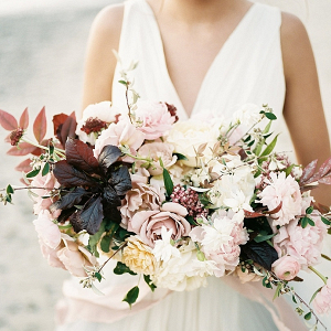 Soft blush and maroon bouquet