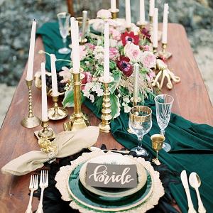 Deep green tablescape
