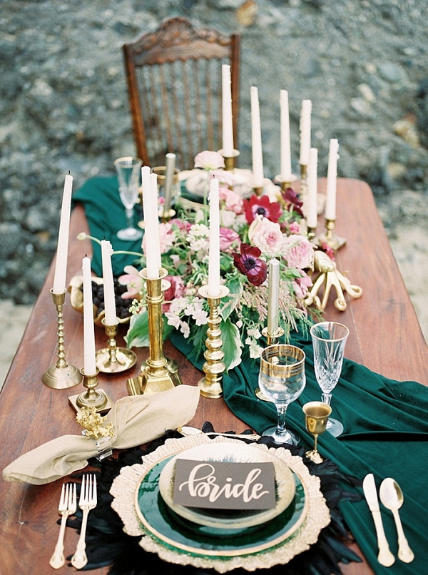 Deep green tablescape