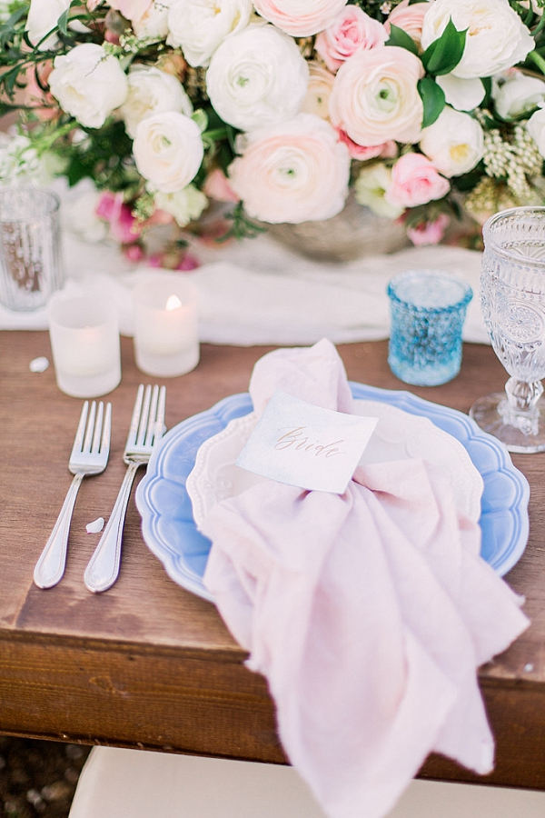 Romantic pink and blue place setting