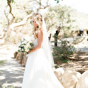 Bride in strapless wedding dress
